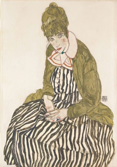 Schiele, Egon: Edith with Striped Dress, Sitting. Fine Art Print/Poster. Sizes: A4/A3/A2/A1 (003679)